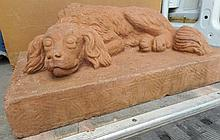 Terracotta Sleeping Dog Garden Element