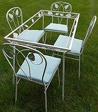 5 Pc. Glass Top and Iron Patio Set