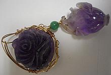 2 Purple Jade Pendants
