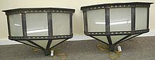 Exceptional Pair of Iron / Glass 3 Light Sconces