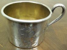 2 pc Lot Sterling Mickey Mouse Cup/Engraved Sterling Cup