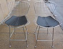 Pr of Chrome and Leather French Stools