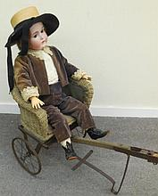Large German Doll in Antique Pull Cart
