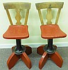 Unique pair of wood and iron stools