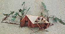 Folk art tin birdhouse