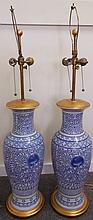 Large pair of Blue and White Porcelain lamps