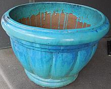 Large turquoise floor planter