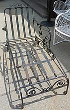 Black iron chaise lounge