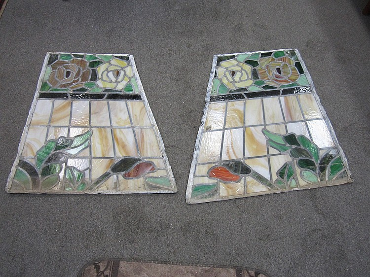 Pair Stained Glass Panels