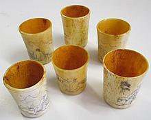 6 Ivory Scrimshaw Sake Cups