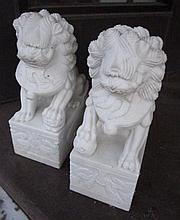 Pair of Marble Foo Lions 18.5