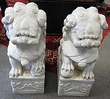 Pair of Marble Foo Lions 25