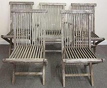 7 Teak Folding Chairs