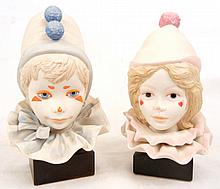 Two Cybis bisque child clown heads