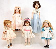 Grouping of five Madame Alexander dolls