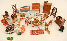 Grouping of vintage doll house furniture