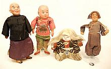 Three Chinese composition and cloth dolls