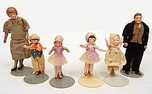 Six miniature German all bisque dolls