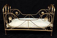 Antique metal fold away doll bed