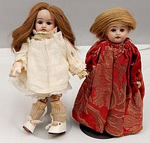 Two small bisque head dolls