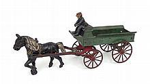 Kenton Toys painted cast iron horse drawn wagon