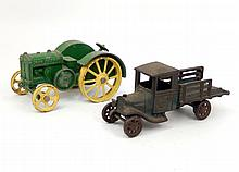 Arcade cast iron stake truck and John Deere cast iron Model D tractor