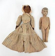 Early black and white topsy turvy doll and Bing? Cloth doll