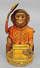 J. Chein tin litho mechanical Monkey bank