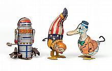 Three tin litho windup toys