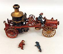 Vintage cast iron fire pumper