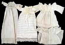 Grouping of early doll clothes and doll hats
