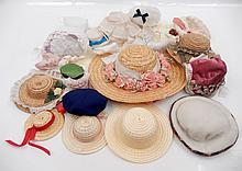 Grouping of assorted doll hats