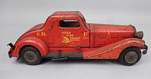 Marx Siren Fire Chief pressed steel toy car