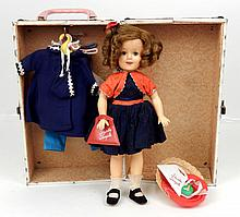 1957 Ideal Shirley Temple vinyl doll, clothes, in trunk