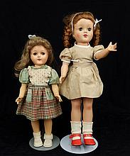 Ideal Toni P-91 doll, and a hard plastic walker doll