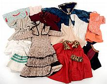 Grouping of vintage and antique doll clothes