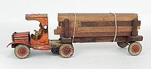 Timber King No. 112 tin litho truck by Strauss, wind up