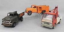 Three Buddy L pressed steel trucks