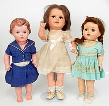 Two celluloid dolls, and an Ideal hard plastic doll