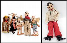 Grouping of ventriloquist dolls and marionettes