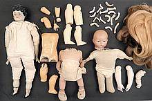 Grouping of antique bisque and doll parts