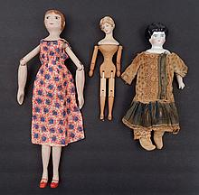 Two mannequin dolls and a German china head doll