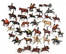 Grouping of diecast soldiers on horseback,