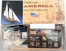 C. Mamoli America ship model new in box, wooden ship,
