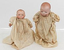 Two Grace S. Putnam Bye-lo bisque baby dolls