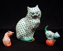 Three Herend cat figurines