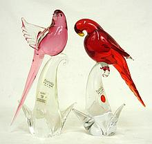 Two Murano glass birds