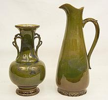 Japanese pottery vase and pitcher