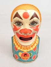 Chein tin litho clown bank, mechanical, working order, 5