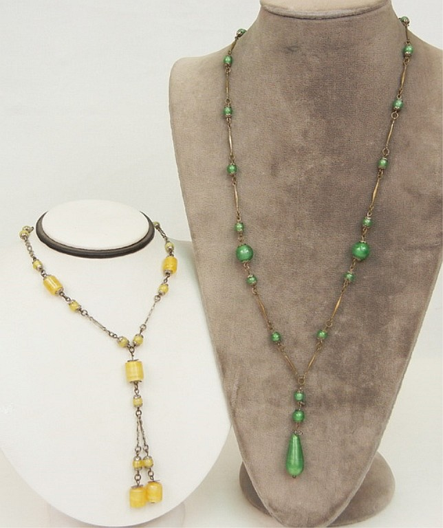 Two Art Deco Venetian glass bead necklaces, one